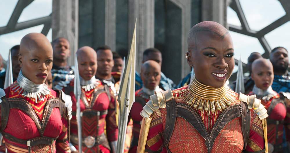 The Dora Milaje of  Black Panther . Left to right: Ayo (Florence Kasumba) and Okoye (Danai Gurira). © Marvel Studios 2018