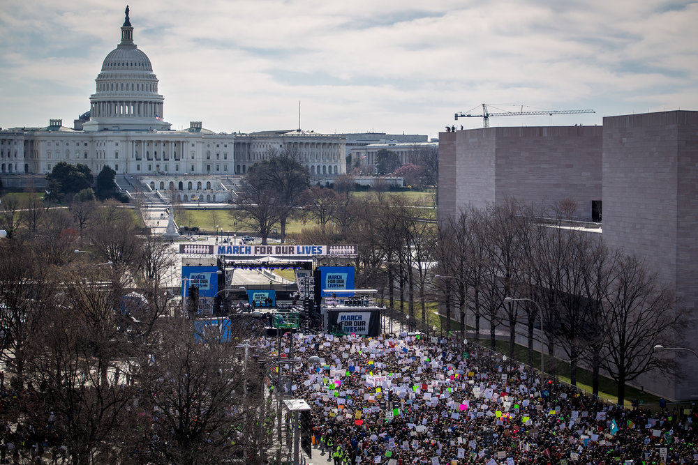 More than 200,000 people gathered in the nation's capital for the March For Our Lives on March 24, 2018. Photo by  Phil Roeder . ( CC BY 2.0 )