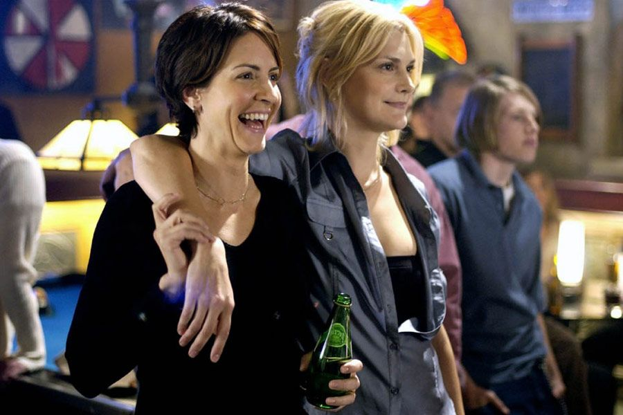 Melanie (Michele Marcus) and Lindsey (Thea Gill)from Showtime's  Queer As Folk are one example of a butch-femme lesbian relationship.