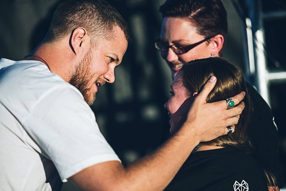 Dan Reynolds greets one of the speakers and her mother at the 2017 LoveLoud Festival in Orem, Utah. / Photo courtesy of HBO.