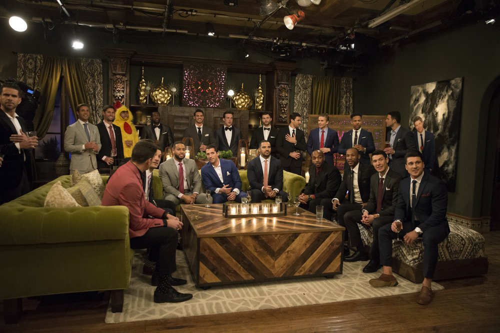 The contestants sit around chatting and, presumably, bragging about how many Tinder matches they've had in the first episode of this season of  The Bachelorette , which aired May 28, 2018. But maybe it's about time we all agree that we can't keep allowing men to sit around drinking and leering at the same woman on national television. (ABC/Paul Hebert)
