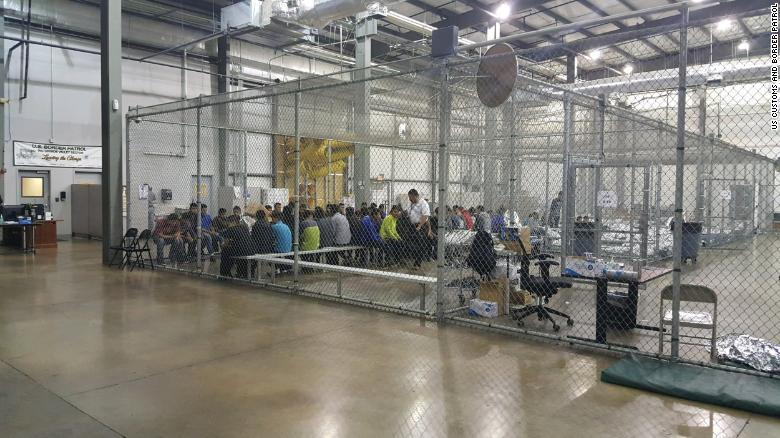 Children sit inside a CBP holding facility. These photos were taken by CBP in an attempt to put the child detention camps in a positive light. *rolls eyes* (CBP)