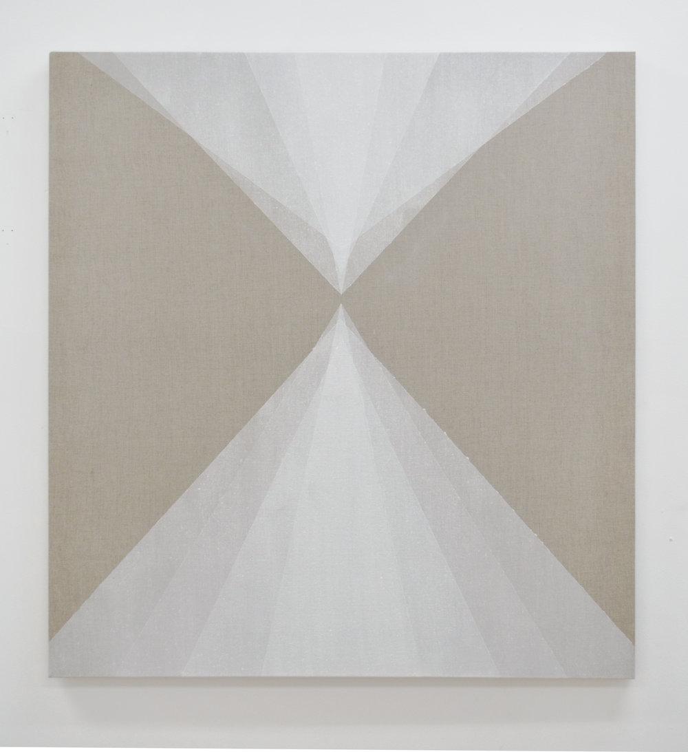 "Convergence,  2014, quartz powder on linen, 36"" x 33"""