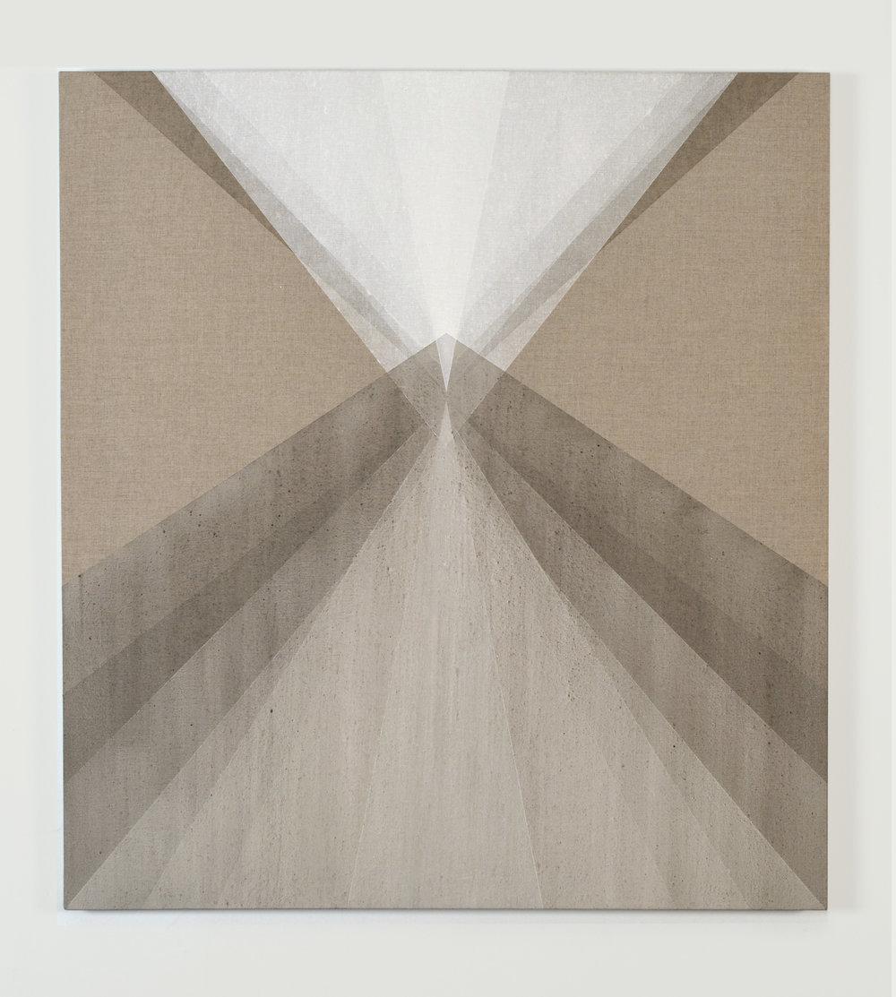 "Cumulate , 2014, ash and quartz powder on linen, 36"" x 33"""