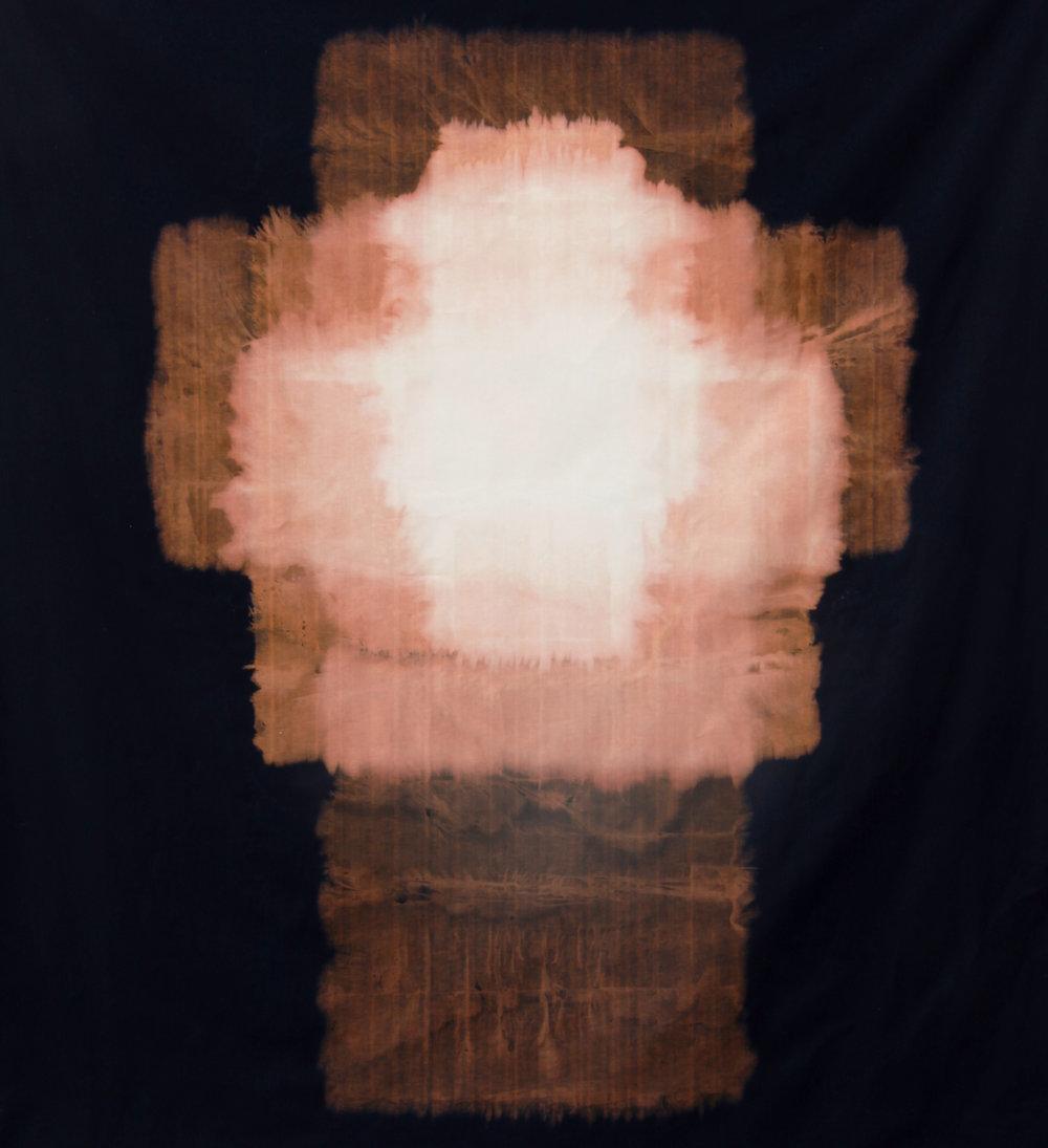 "Float , 2014, sodium hypochlorite on black canvas, 68"" x 62"""