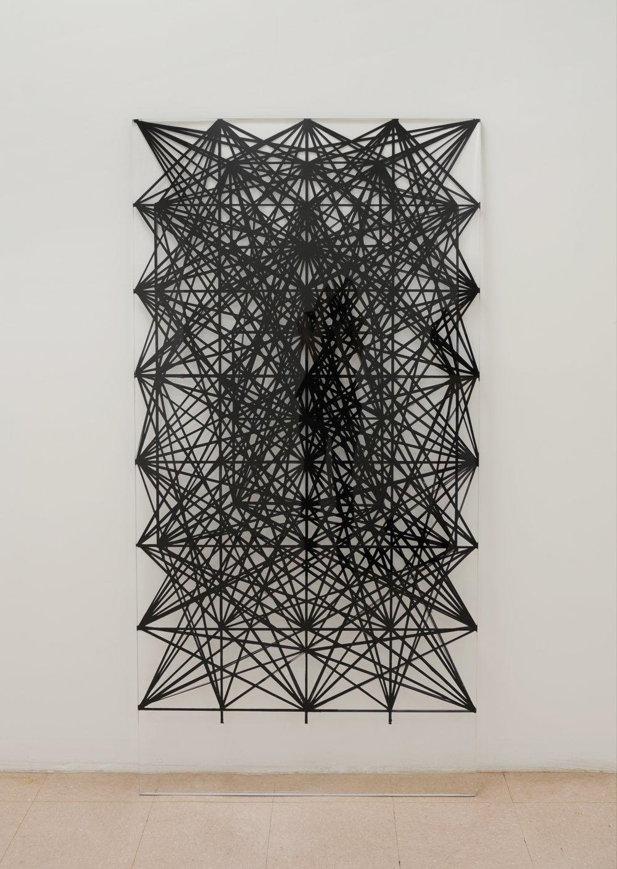 """Geometric void , 2010, Oil Paint on Perspex, 68"""" x 34"""""""
