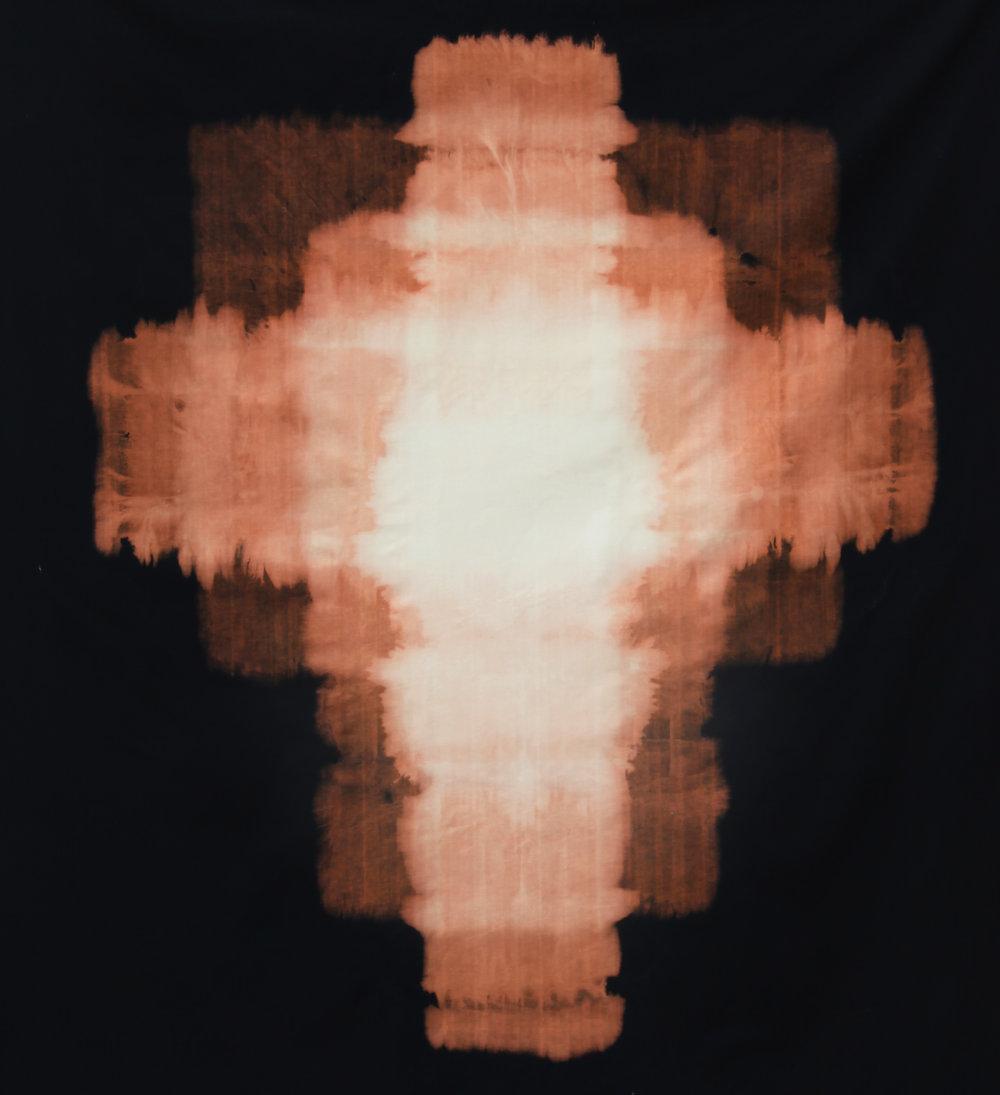 "Star , 2014, sodium hypochlorite on black canvas, 68"" x 62"""