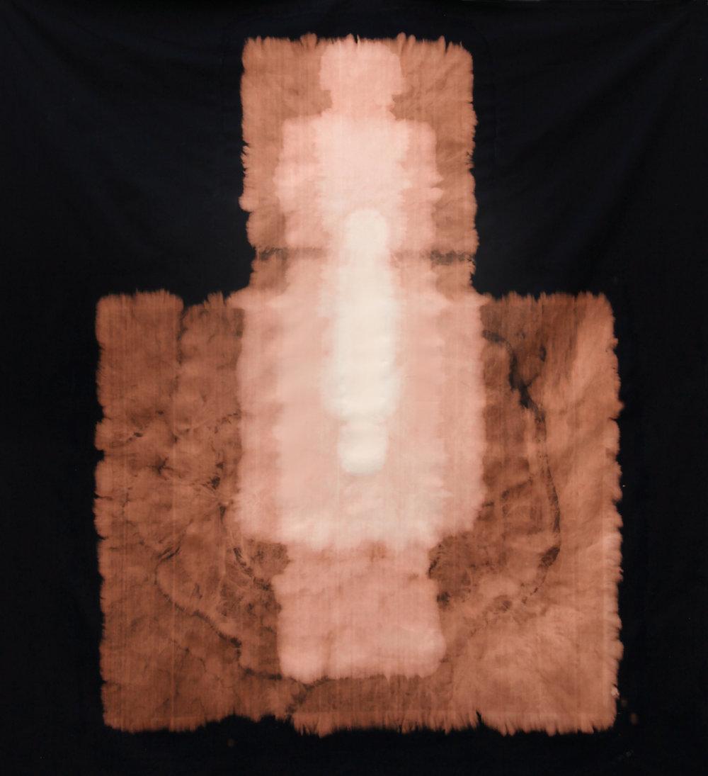 "Void , 2014, sodium hypochlorite on black canvas, 68"" x 62"""