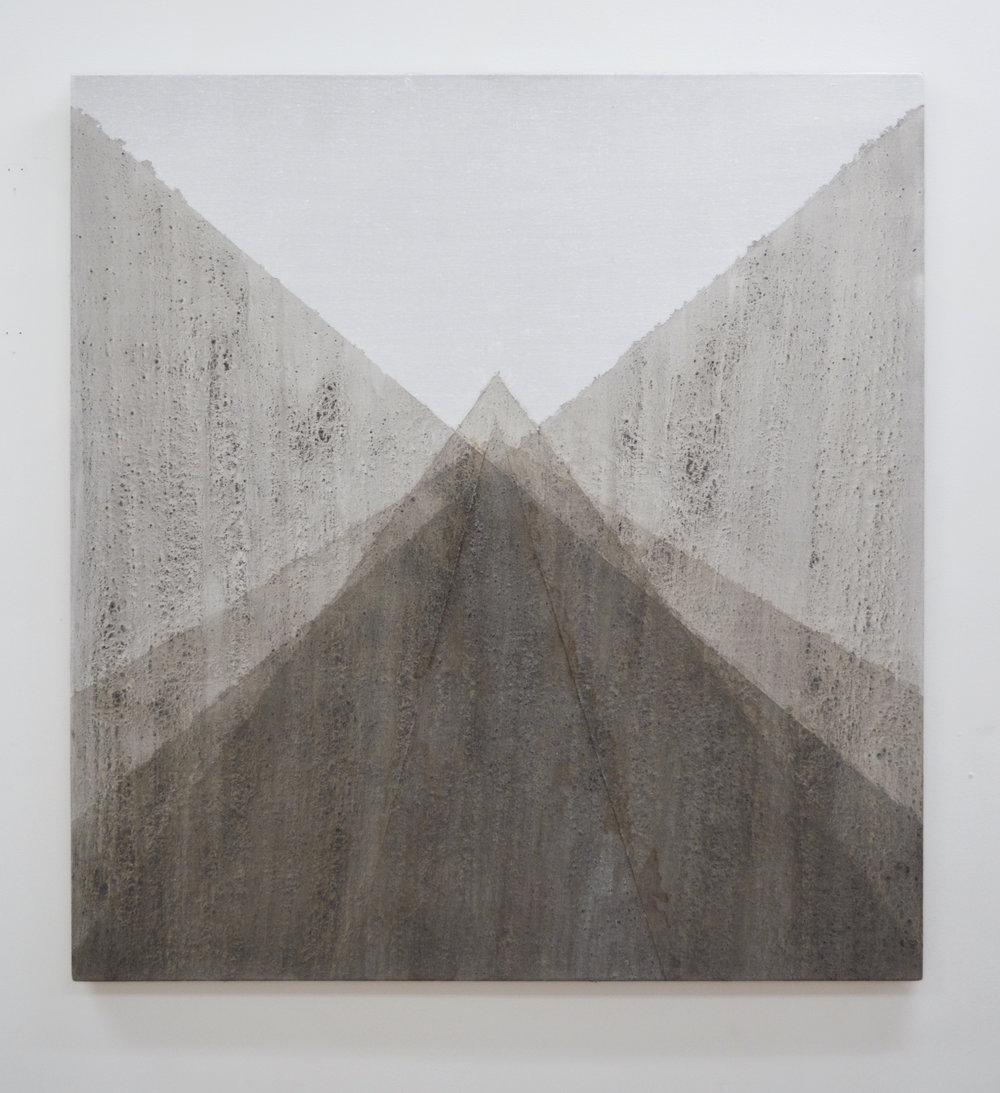 "Succession , 2014, ash and quartz powder on linen, 36"" x 33"""