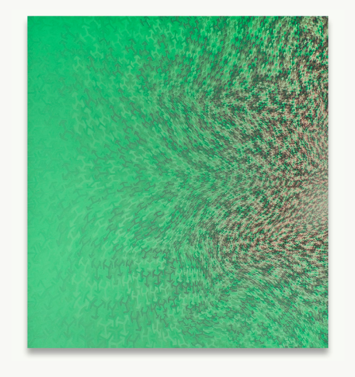 Anoka Faruqee,  Mint S-Curve , acrylic on linen, 78.75 x 71.75 in