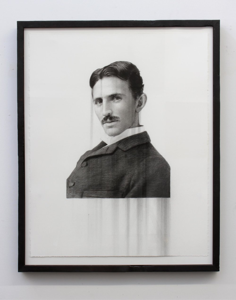 Paul Jacobsen,  Nicola Tesla , 2015, Charcoal on paper with charred frame, 30 x 24 in