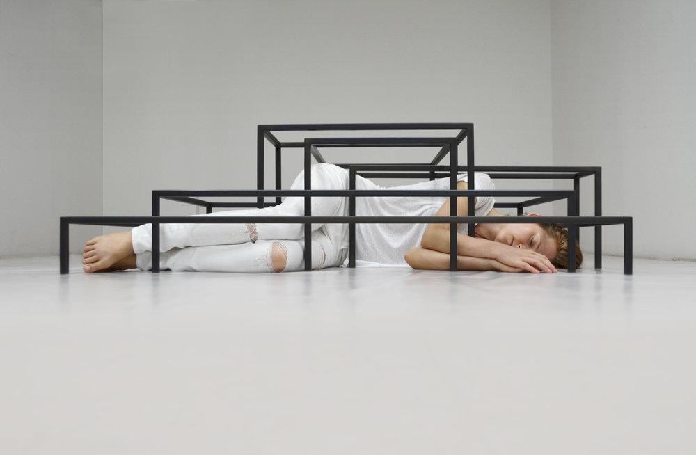 Rachel Garrard, Interrelated  Echoes , 2014, (view 1) Steel, 62 x 41 in