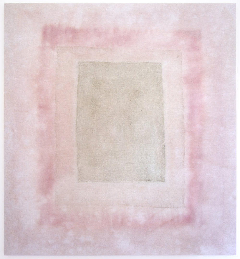 341 , 2016, strawberry, raspberry, hibiscus and spirulina on cotton, 48 x 44 in