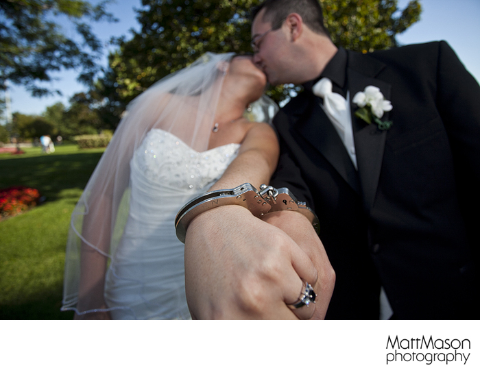 Handcuffs on wedding day