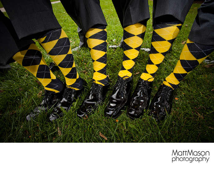 Yellow Argyle Socks on Groomsmen