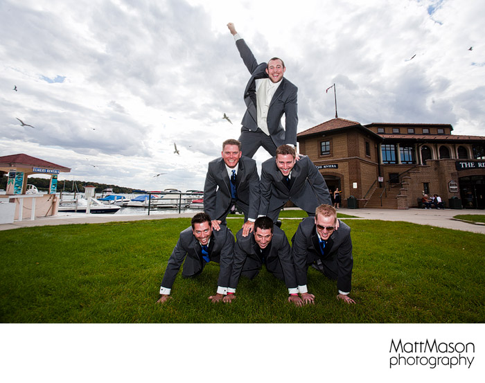 Groomsmen at the Riv in Lake Geneva