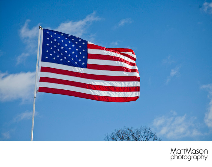 American Flag against a clear blue sky