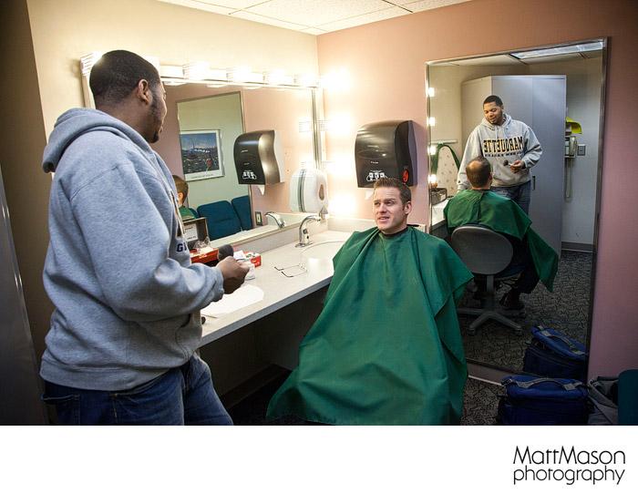 Matt Mason getting Makeup applied