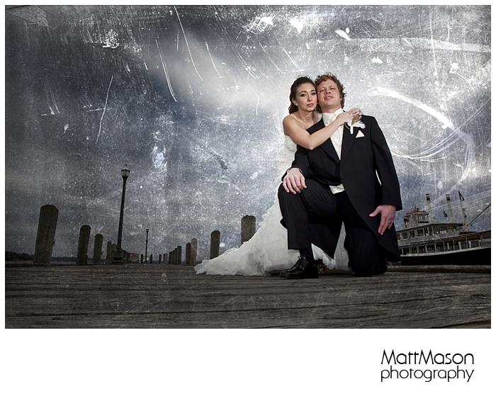 Wedding photo at the pier in Lake Geneva