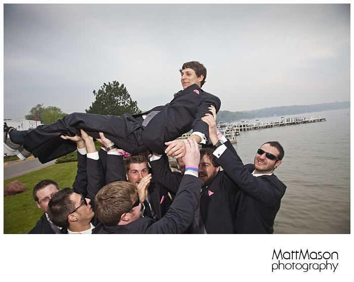 Molle gets hoisted by his groomsmen!