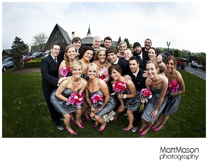 Wedding Party Group Hug, Fish eye Lens