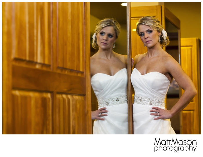 Bride in Biltmore Country Club Men's Locker Room