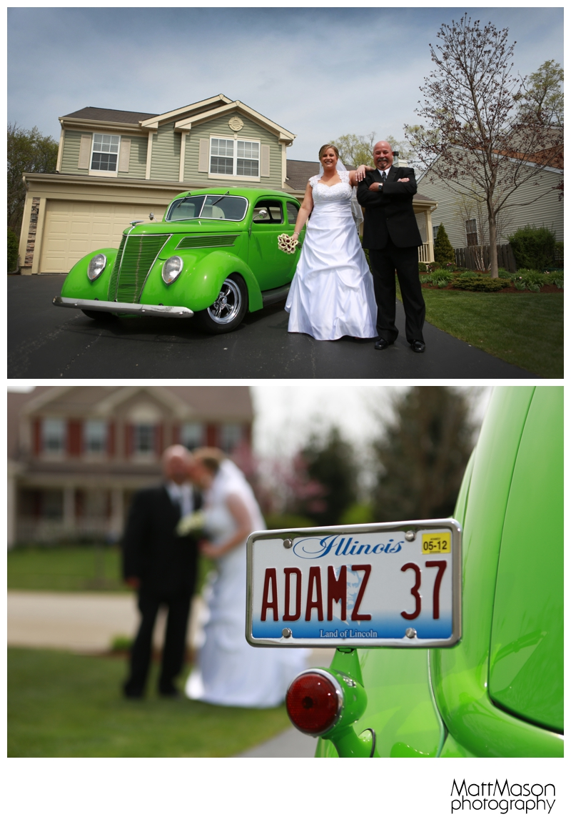 Bride with Dad's Hotrod
