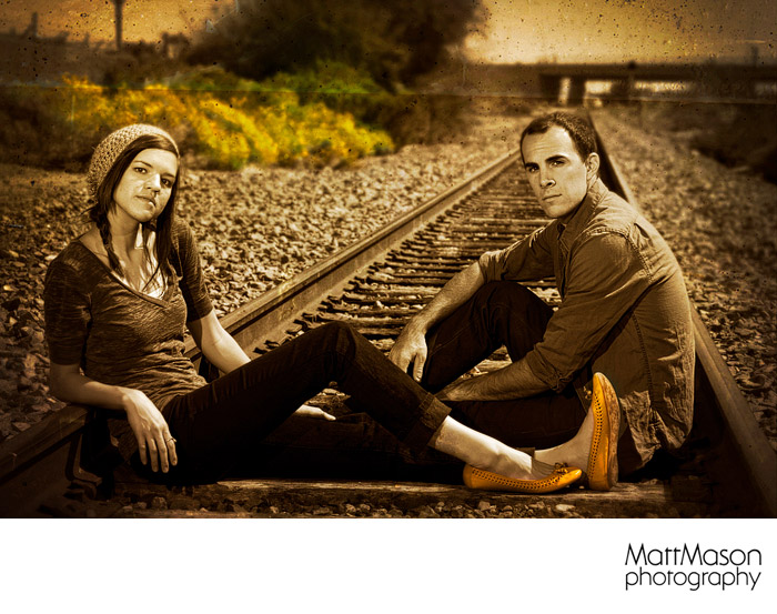 Engagement Session on the tracks