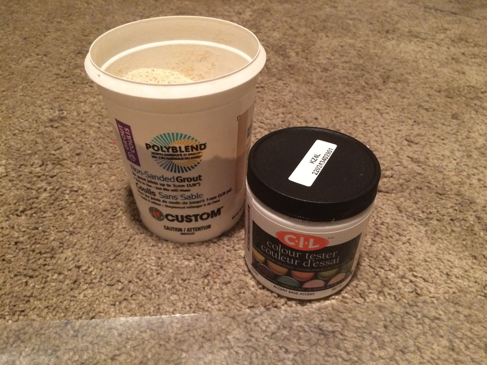 This is what a paint tester pot and some tile grout look like.