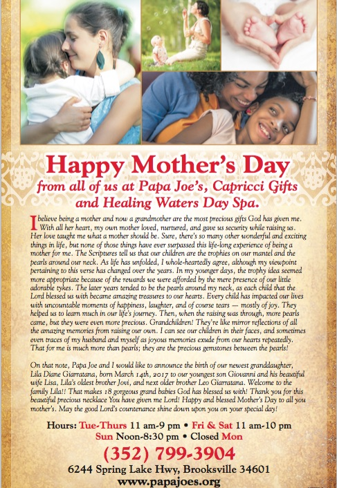 Happy Mother's Day - Papa Joe's