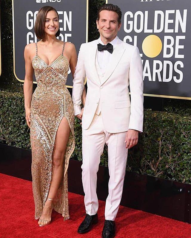 Golden couple! #goldenglobes  #middleeasternfashionista #irinashayk#bradleycooper#versace#couplesgoals#dxb#beauty#trend#model#fashion#style#saudi#saudiarabia#jordan#swag#London#nyc#beirut#damascus#dubai#uae#paris#qatar#isatnbul#kuwait#bahrain#doha