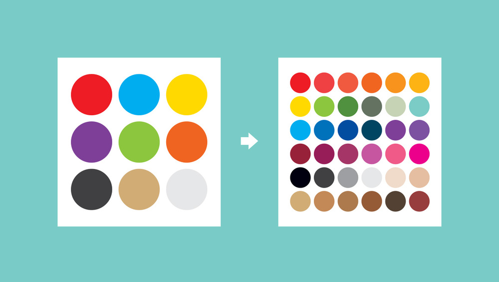 The limited palette became not-so-limited, but stayed on-theme.