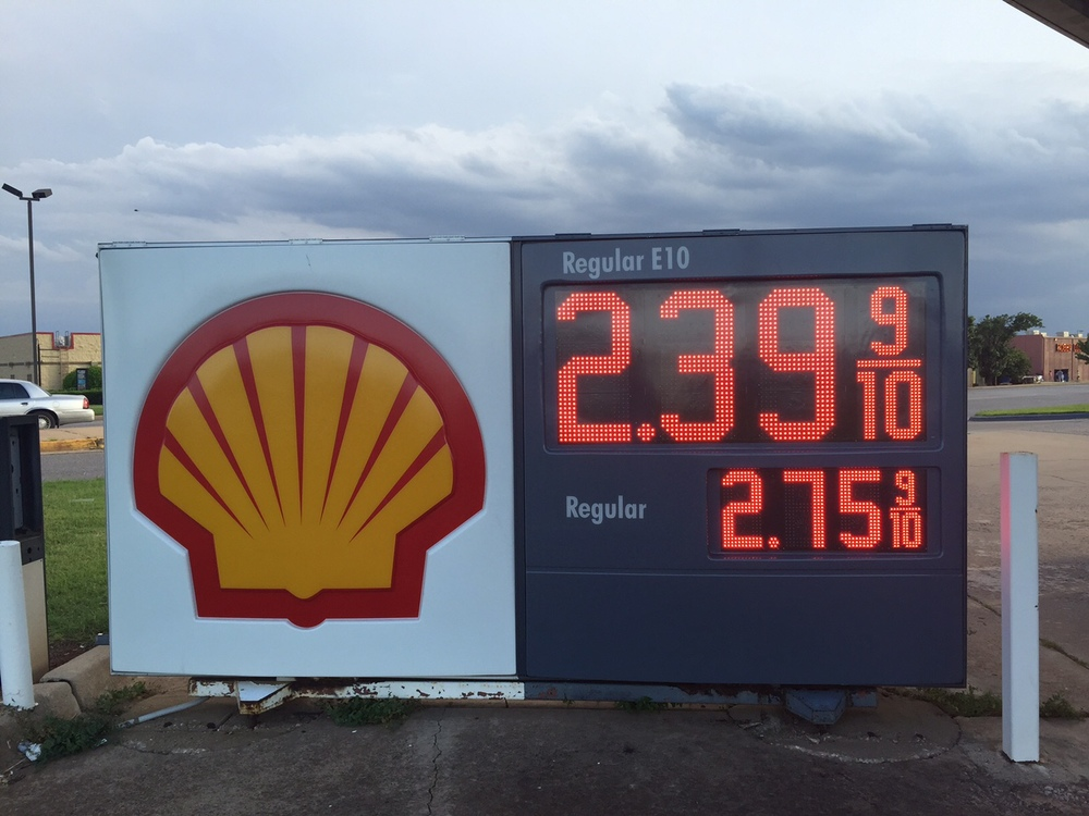 Jaw dropped by the price of gas in OK.