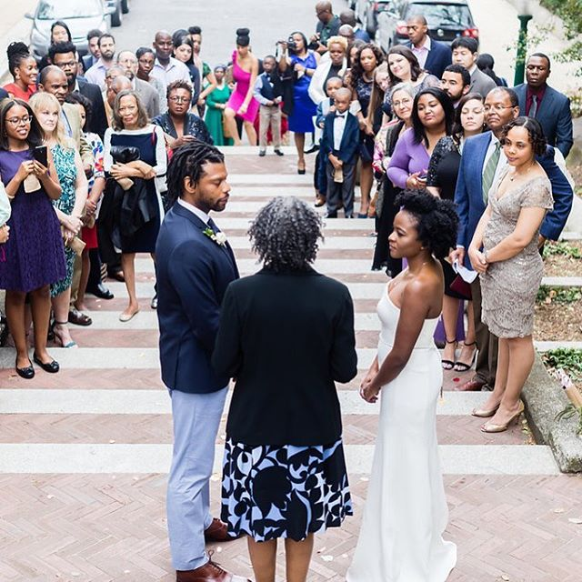 A wedding ceremony can take place just about anywhere in D.C. - including on the Spanish Steps. All you need is space, family, friends, a couple in love, and of course a person who can legally perform a wedding. #dcwedding (photo credit @jbelliottphotography)