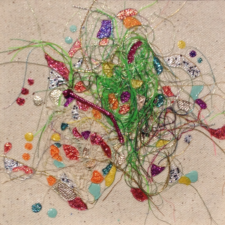 """Teased, Knotted and Lacquered #2   ""    Multi-thread Collage & Nail Polish     Matted (Size 11 3/8 X 11 3/8 Inches)    Image (Size 5 1/4 X 5 1/4 Inches)"