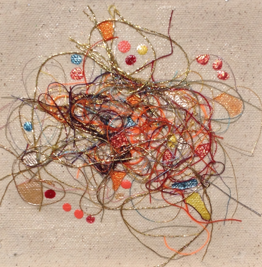 """Teased, Knotted and Lacquered #3   ""    Multi-thread Collage & Nail Polish     Matted (Size 11 3/8 X 11 3/8 Inches)    Image (Size 5 1/4 X 5 1/4 Inches)"