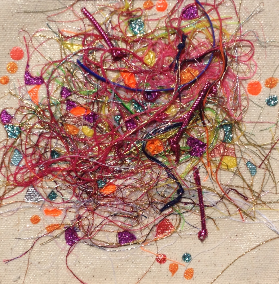 """Teased, Knotted and Lacquered #4   ""    Multi-thread Collage & Nail Polish     Matted (Size 11 3/8 X 11 3/8 Inches)    Image (Size 5 1/4 X 5 1/4 Inches)"