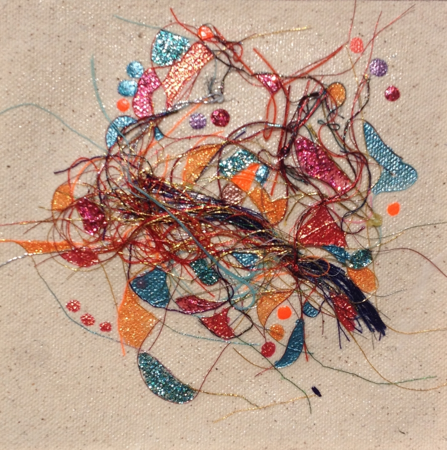 """Teased, Knotted and Lacquered #5   ""    Multi-thread Collage & Nail Polish     Matted (Size 11 3/8 X 11 3/8 Inches)    Image (Size 5 1/4 X 5 1/4 Inches)"