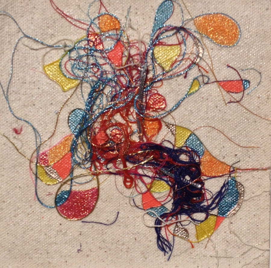 """Teased, Knotted and Lacquered #6   ""    Multi-thread Collage & Nail Polish     Matted (Size 11 3/8 X 11 3/8 Inches)    Image (Size 5 1/4 X 5 1/4 Inches)"