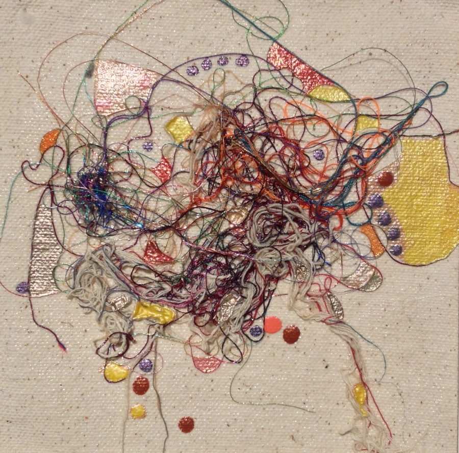 """Teased, Knotted and Lacquered #10   ""    Multi-thread Collage & Nail Polish     Matted (Size 11 3/8 X 11 3/8 Inches)    Image (Size 5 1/4 X 5 1/4 Inches)"