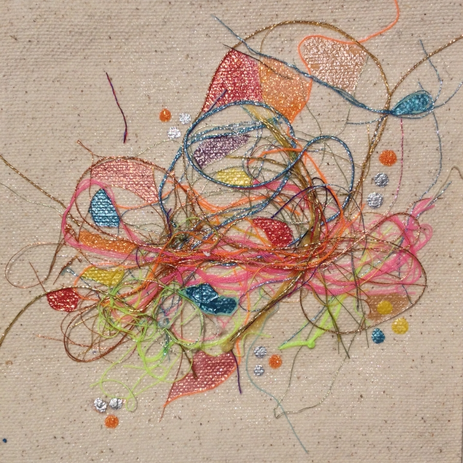 """Teased, Knotted and Lacquered #11   ""    Multi-thread Collage & Nail Polish     Matted (Size 11 3/8 X 11 3/8 Inches)    Image (Size 5 1/4 X 5 1/4 Inches)"