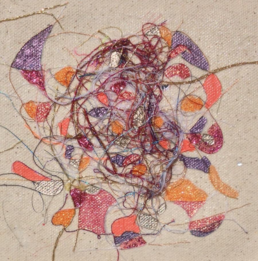 """Teased, Knotted and Lacquered #12   ""    Multi-thread Collage & Nail Polish     Matted (Size 11 3/8 X 11 3/8 Inches)    Image (Size 5 1/4 X 5 1/4 Inches)"