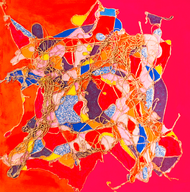 """ Abstract Quilt ""    Various Types of Twine, Cording, Threads & String and Acrylic on Canvas    Use of Neon Acrylic Paints (The most Vibrant being Orange & Pink)    Unframed    Canvas Size 3' x 3'        Make me an offer -?      Plus Shipping     Proceeds of the Sale of this Artwork goes to  'The Unity Project'     London, Ontario. Canada"