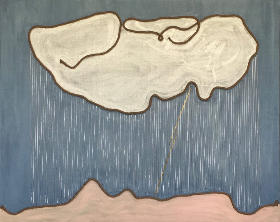 """Rain""     Large Jute Roping, Silver Cording & Acrylic on Linen    Image Size 5' X 4'"