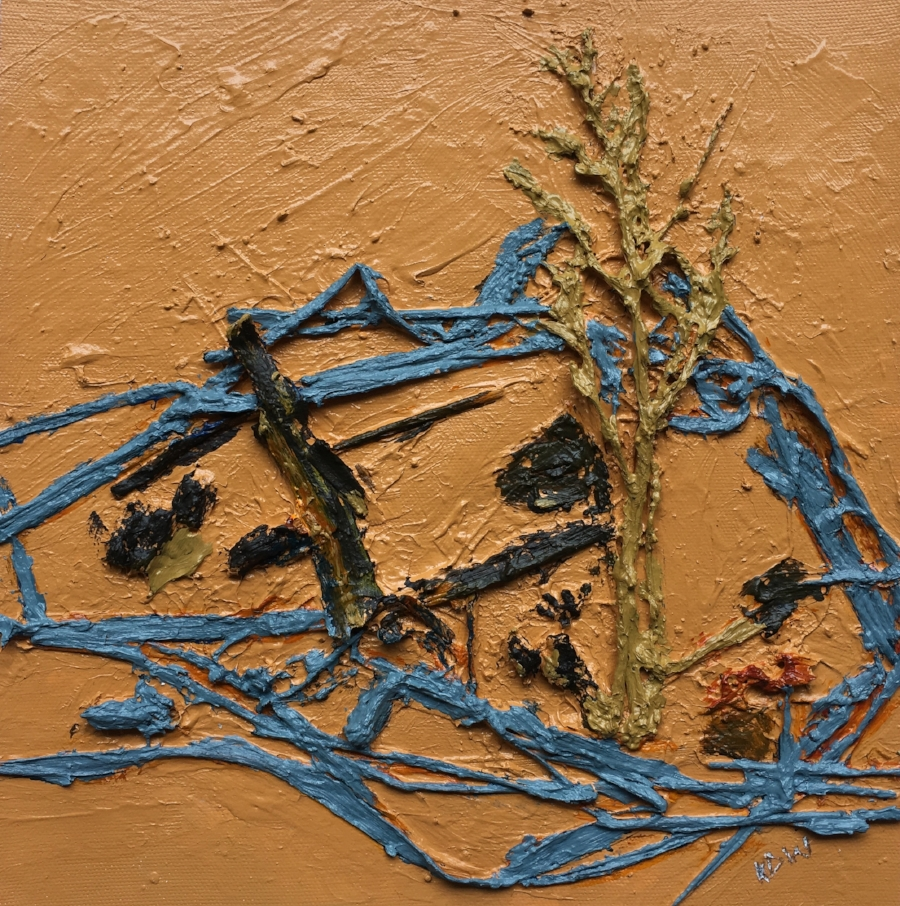 """ April 22, 2018"" Sharpes Creek Line (2)  Acrylic, Grass, twigs, Bark, & Moss on Flat Canvas.  Image Size 10"" x 10""   (Matted & Framed)"