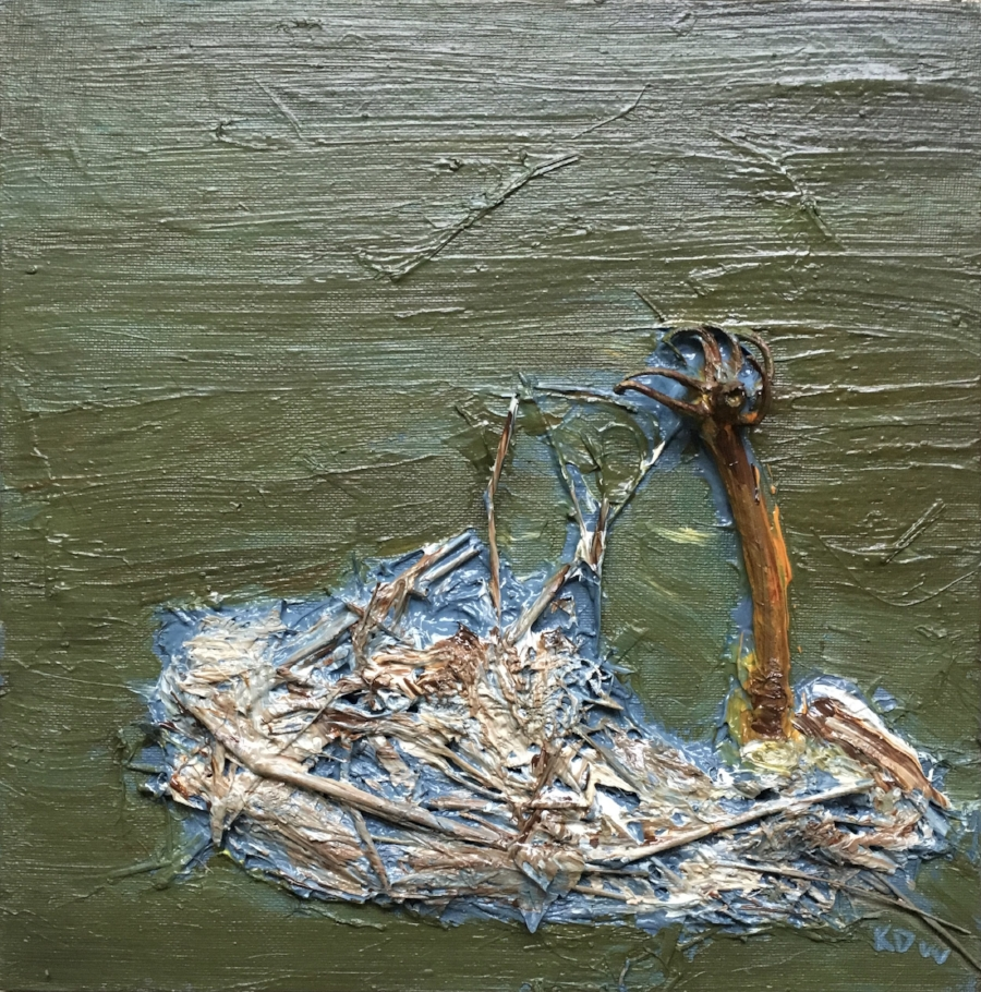 """ May 22, 2018"" Sharpes Creek Line at Foster's Bridge, Huron County.""  Acrylic, Straw and Root Fibre left over from Flooding, & Root Branch on Canvased Masonite.  Image Size 10 7/8"" x 11"" Unframed."