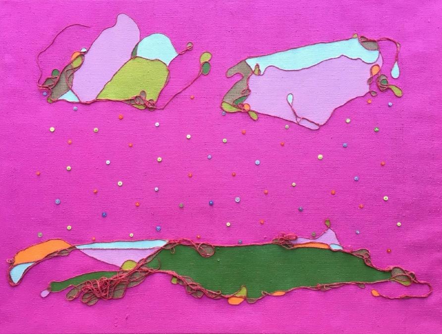 """Button Rain""     Dyed Jute &Acrylic on Burlap    Image Size 4' X 3'"