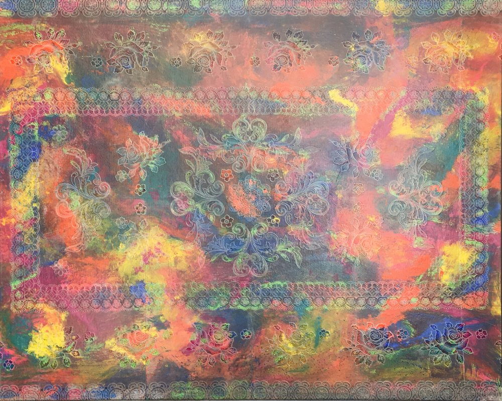 """""""Untitled"""" 3  Lace is Implied on a Plastic Lace Table Cloth with Acrylic Paint which adhered to Stretched Linen.   4 Feet by 5 feet"""