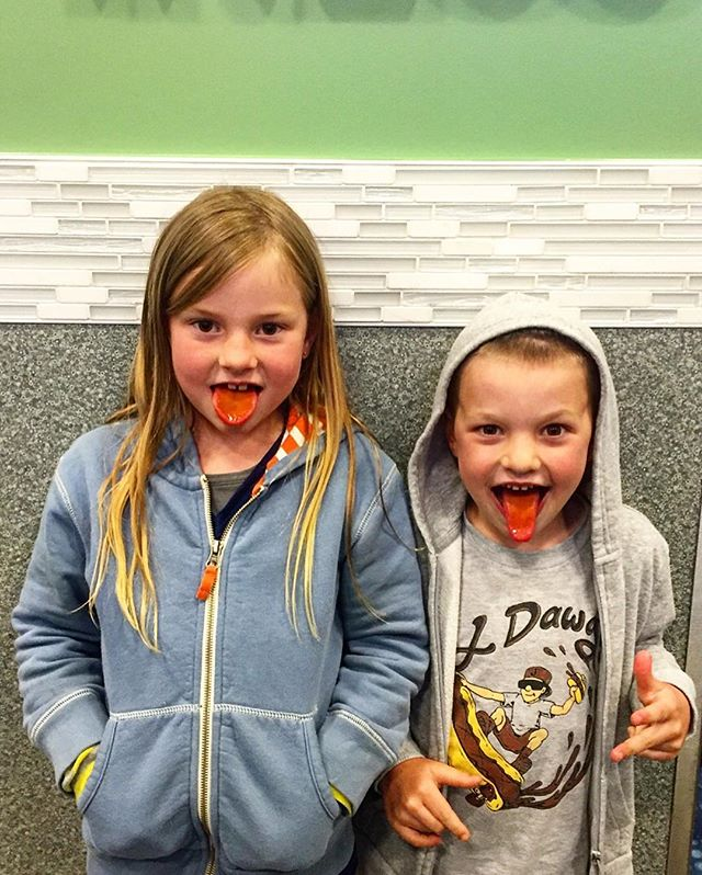 Want FREE Rita's?! #tastytesttuesdays  Here we go! These two kiddos enjoyed some Rita's ice tonight! Be the first to guess what flavor made their tongues so bright and tag a friend to win a $20 RITAS ICE GIFT CERTIFICATE! Let the guessing begin! 🍦👅