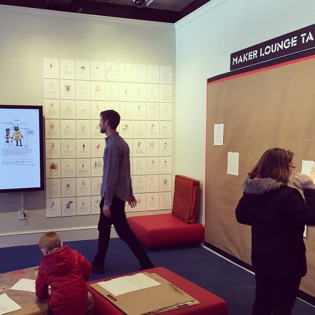 There's a room in the @peabodyessex museum where anyone/any age can LOUNGE, SPECULATE & CREATE, then display what they make. Come play and take part of David Yann Robert's #SpeculativeLifeForms project during his #MakerLoungeTakeover residency.